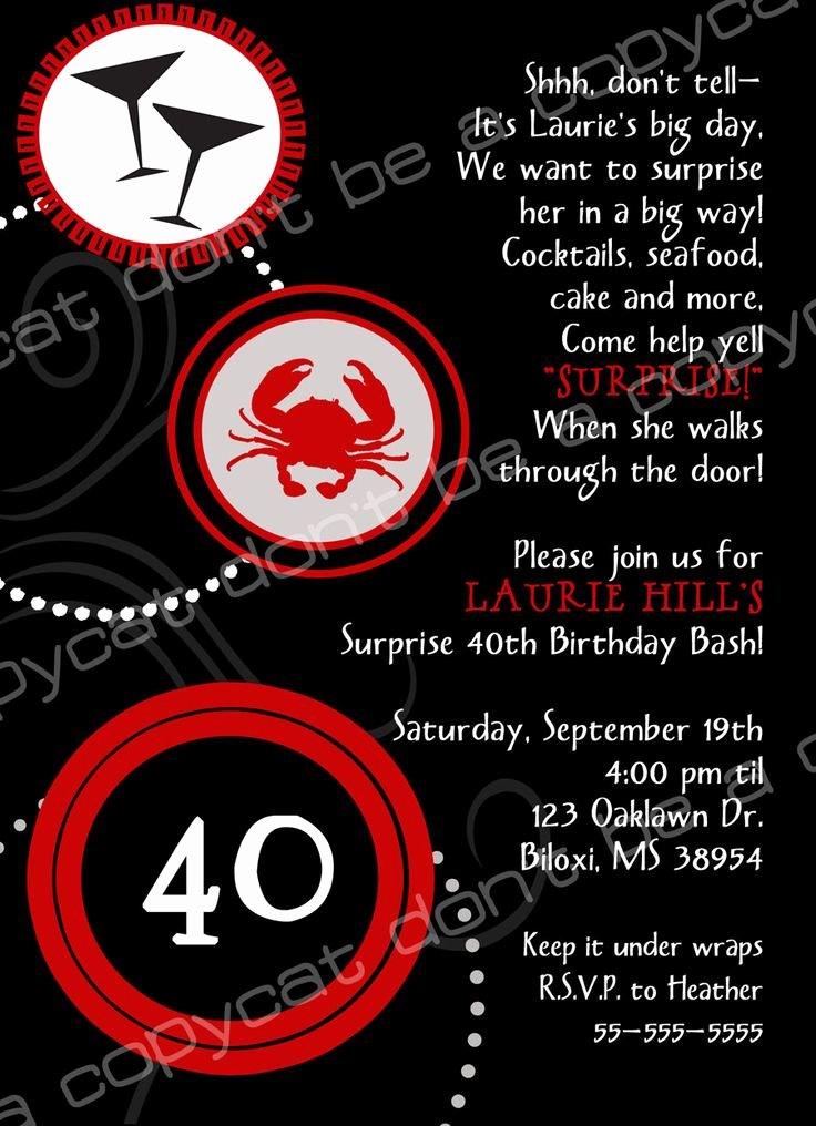 40th Birthday Invitation Wording Luxury 40th Birthday Invite Wording Surprise