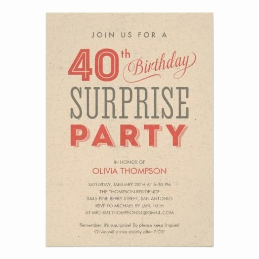 40th Birthday Invitation Wording Luxury Surprise 40th Birthday Invitations Wording