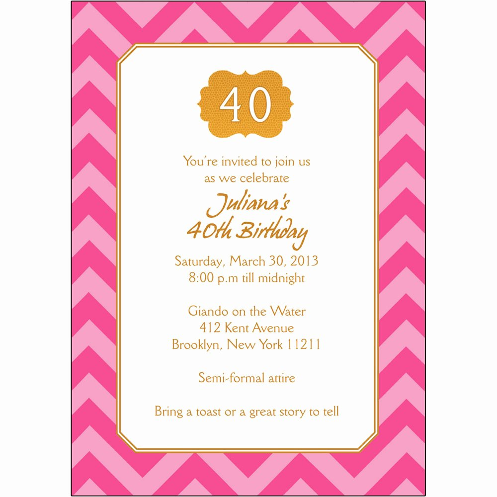 40th Birthday Invitation Wording New 25 Personalized 40th Birthday Party Invitations Bp 044