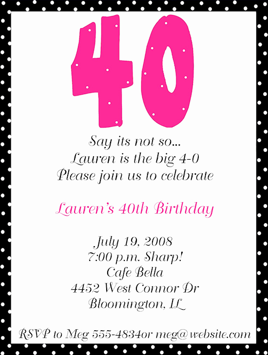 40th Birthday Invitation Wording Unique 40th Birthday Party Invitation Wording