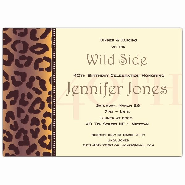 40th Birthday Invitation Wording Unique Cheetah 40th Birthday Invitations