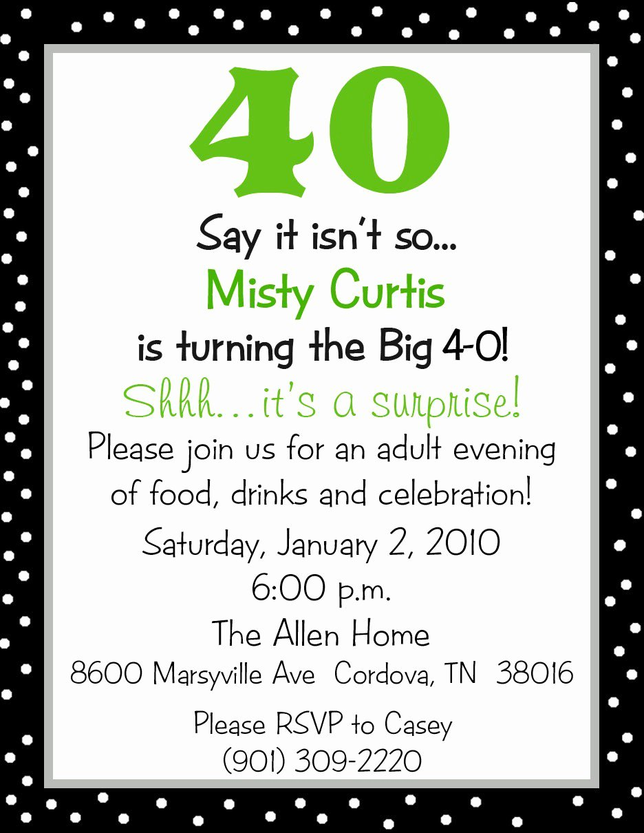 40th Birthday Invitation Wording Unique Surprise 40th Birthday Party Invitation Wording