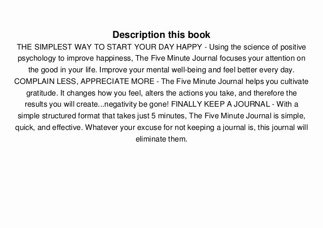 5 Minute Journal Pdf Unique [pdf] Download the Five Minute Journal A Happier You In 5
