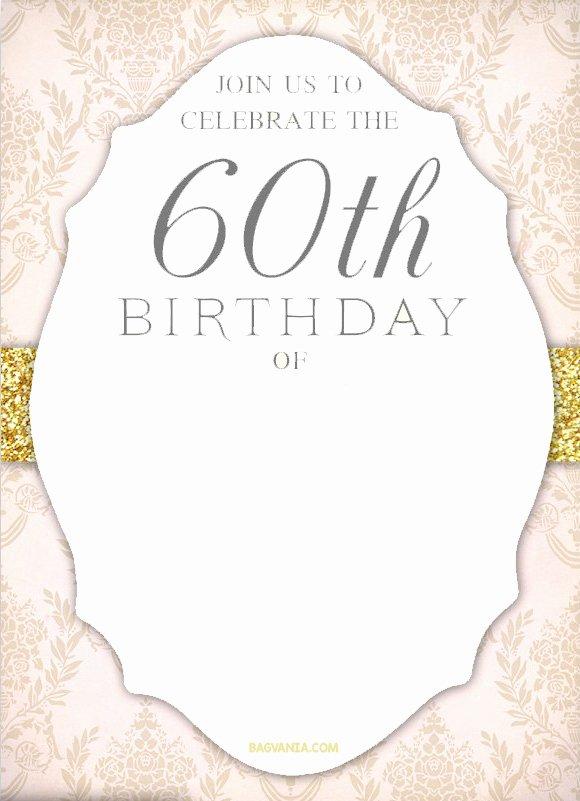 60 Th Birthday Invitation Awesome Free Printable 60th Birthday Invitation Templates