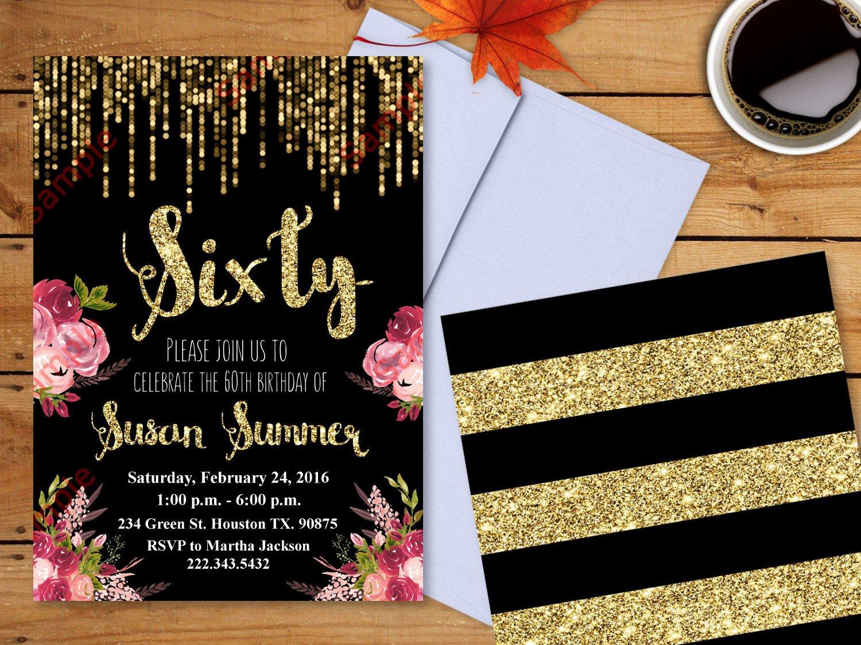 60 Th Birthday Invitation Beautiful 60th Birthday Invitation Gold Glitter Invitation Floral