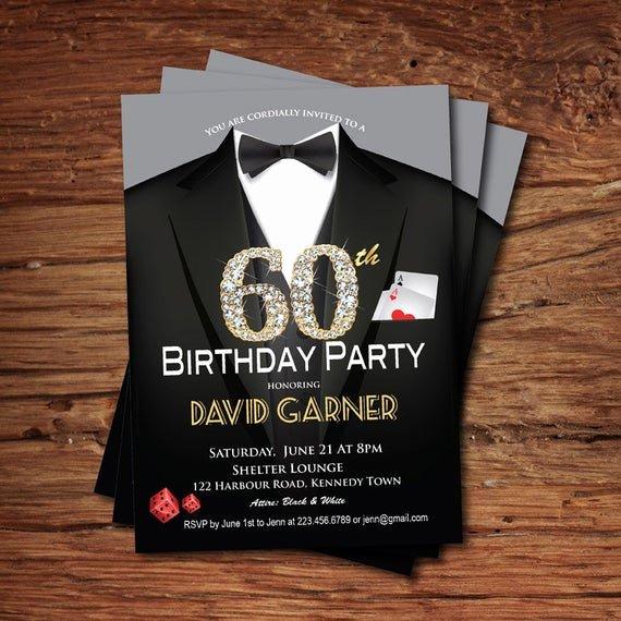 60 Th Birthday Invitation Beautiful Casino 60th Birthday Invitation Adult Man Birthday Party