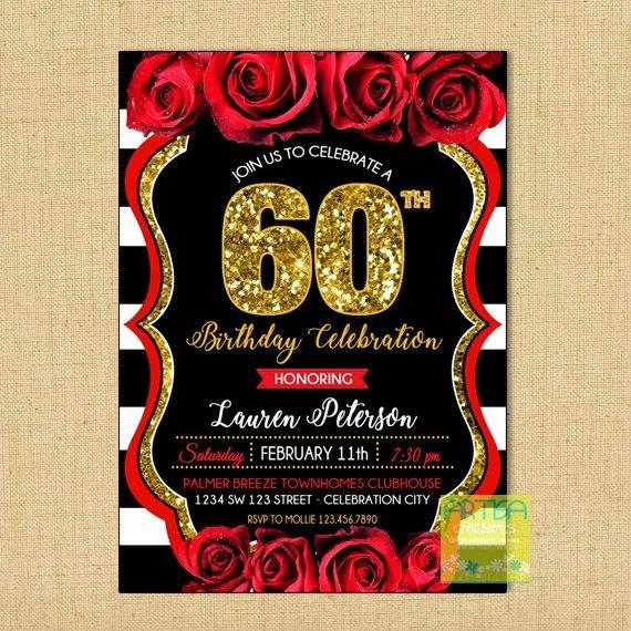 60 Th Birthday Invitation Best Of 60th Birthday Invitation Red Roses 60th Birthday Invitation