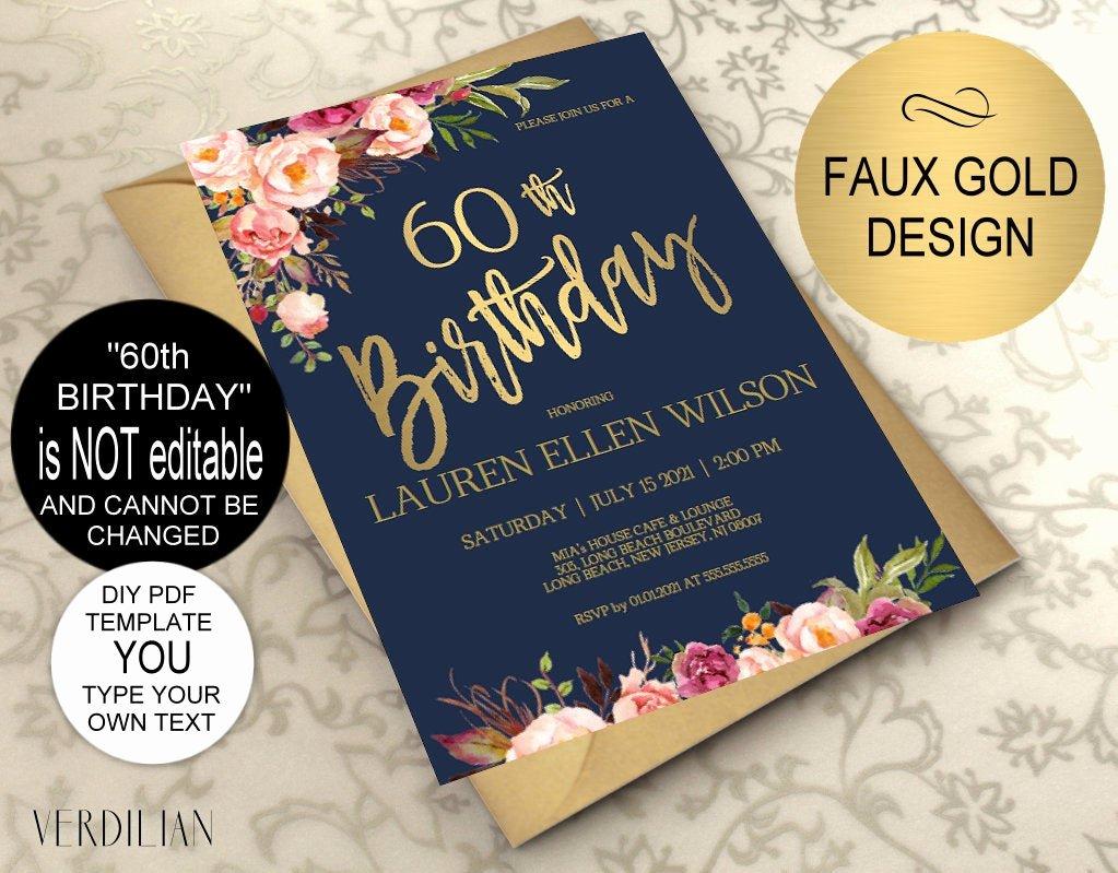 60 Th Birthday Invitation Elegant 60th Birthday Invitation Navy Blush Gold Floral Birthday