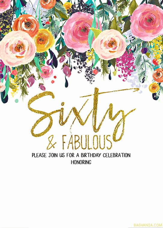 60 Th Birthday Invitation Elegant Free Printable 60th Birthday Invitation Templates