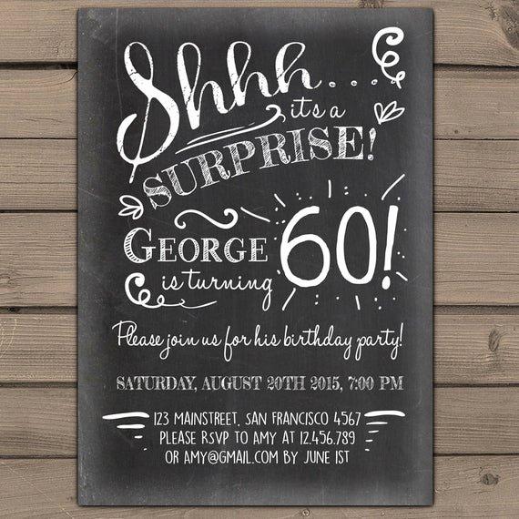 60 Th Birthday Invitation Elegant Items Similar to Surprise 60th Birthday Invitation