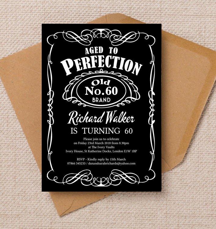 60 Th Birthday Invitation Fresh Whiskey Label themed 60th Birthday Party Invitation From £