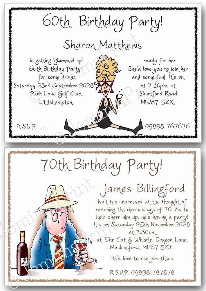 60 Th Birthday Invitation Inspirational 30th 40th 50th 60th 70th 80th 90th 100th Funny Birthday