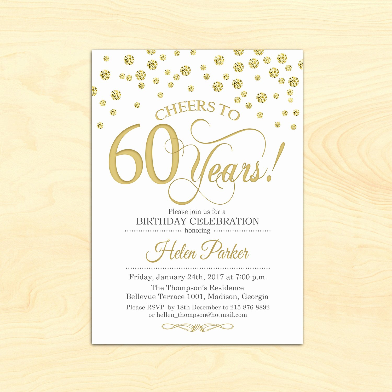 60 Th Birthday Invitation Lovely 60th Birthday Invitation Any Age Cheers to 60 Years Gold