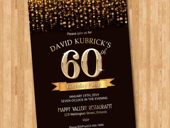 60 Th Birthday Invitation Lovely 60th Birthday Invitation Gold Glitter Diamond Number Birthday