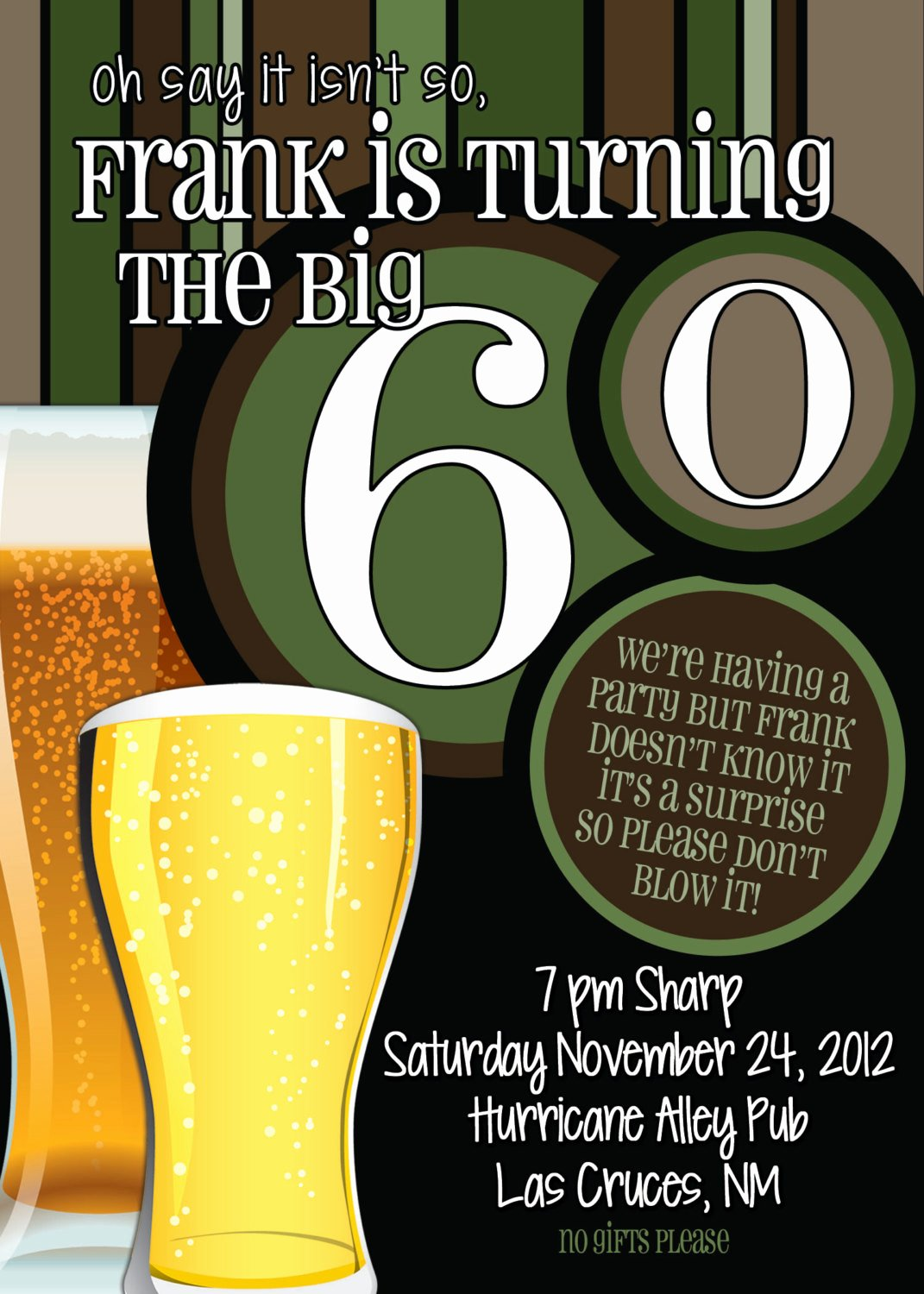 60 Th Birthday Invitation Lovely 60th Birthday Surprise Party Invitations Beer Men by