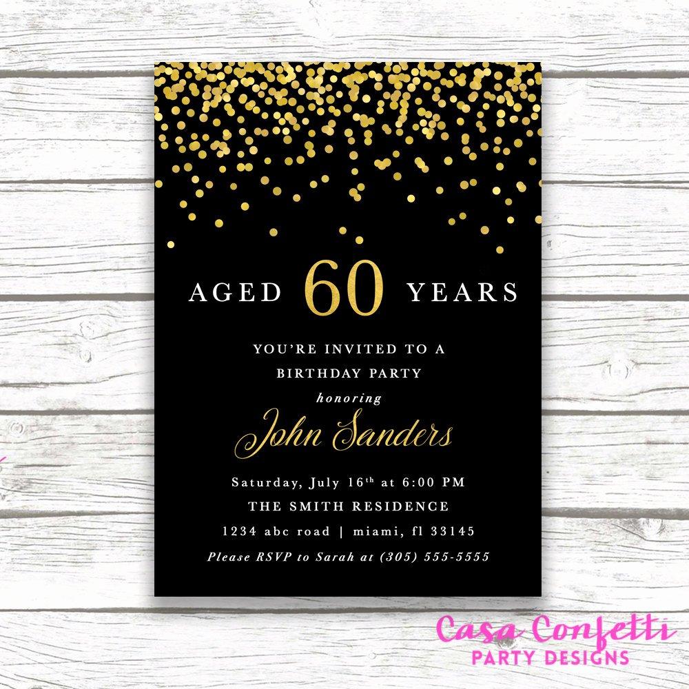 60 Th Birthday Invitation Lovely Adult Male Birthday Invitation Black and Gold Birthday