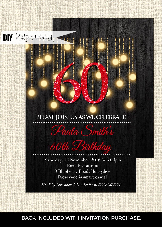 60 Th Birthday Invitation Lovely Red 60th Birthday Invitations 60th Birthday Invitations for