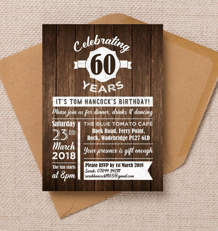 60 Th Birthday Invitation Lovely Rustic Wooden Background 60th Birthday Party Invitation