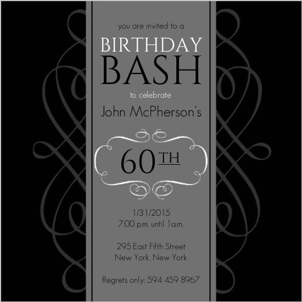 60 Th Birthday Invitation Luxury Black and Grey formal soiree 60th Birthday Invite