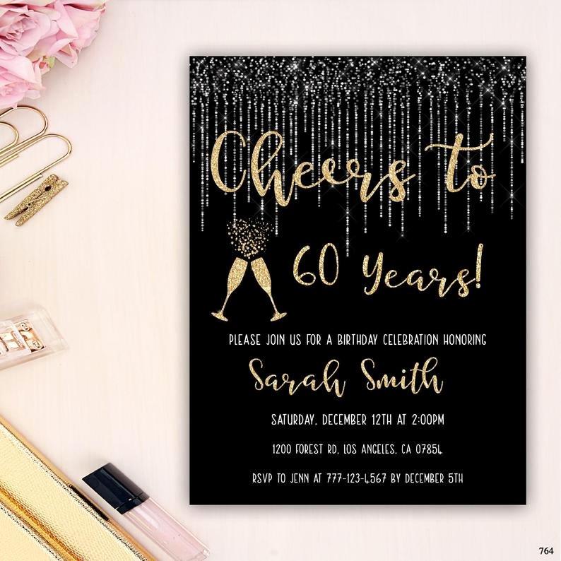 60 Th Birthday Invitation Unique 60th Birthday Invitation Birthday Party Invitation