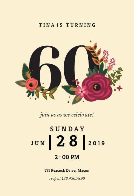 60 Th Birthday Invitation Unique 60th Birthday Invitation Templates Free