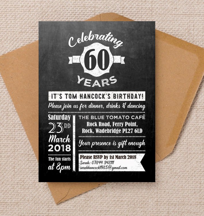 60 Th Birthday Invites Awesome Chalkboard Typography 60th Birthday Party Invitation From