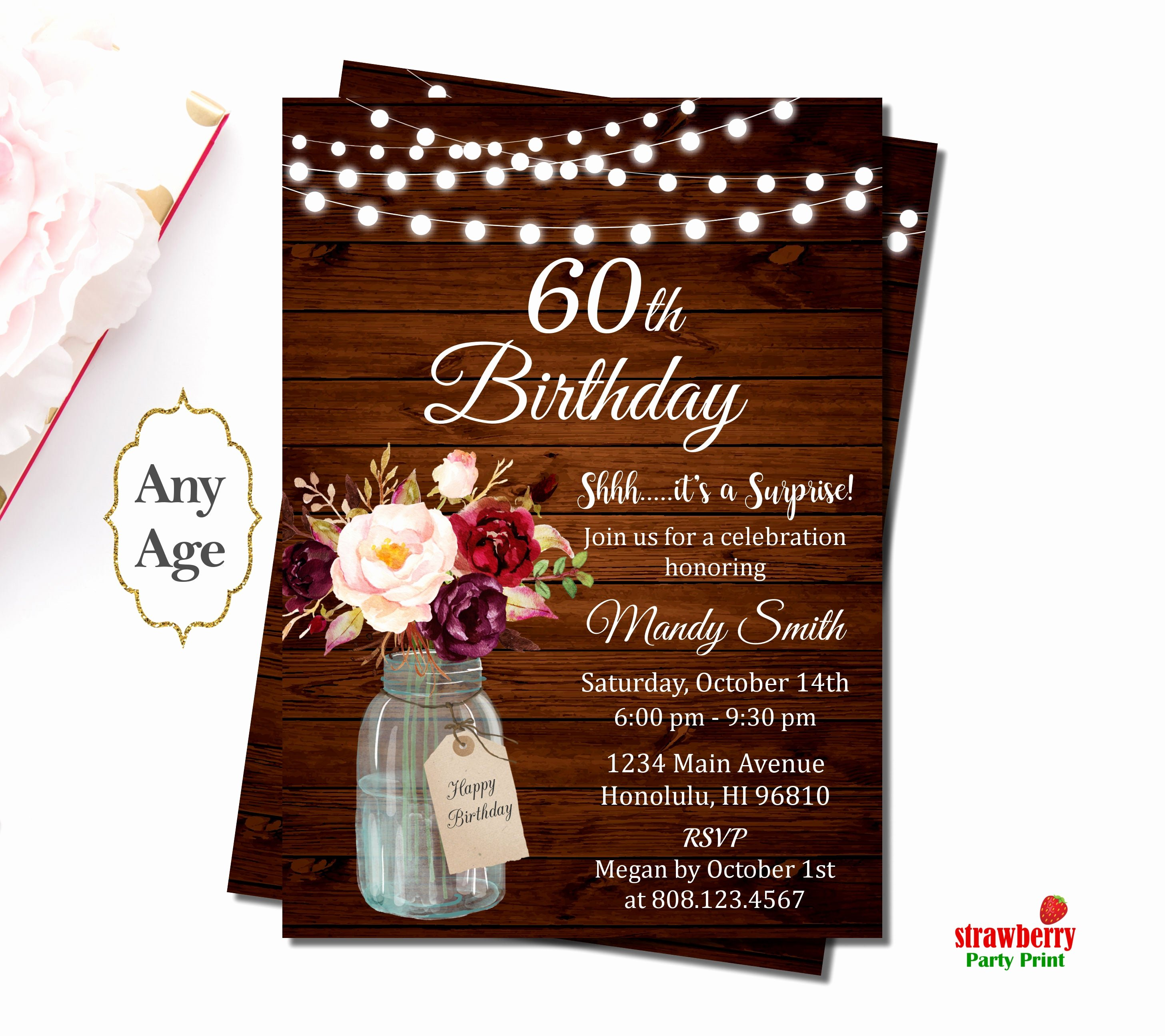 60 Th Birthday Invites Beautiful 60th Birthday Invitations for Women Surprise 60th Birthday
