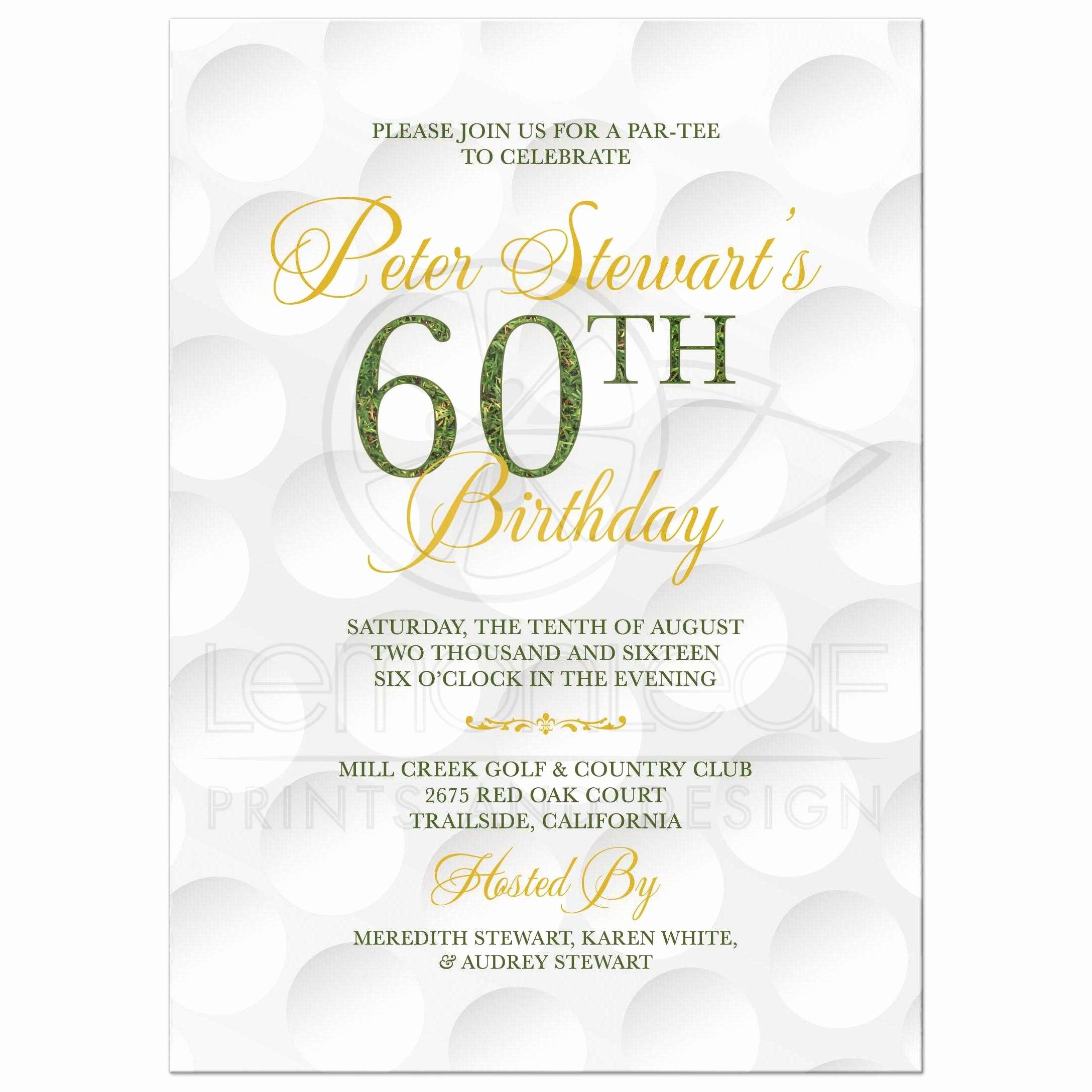 60 Th Birthday Invites Beautiful Golf themed 60th Birthday Invitation