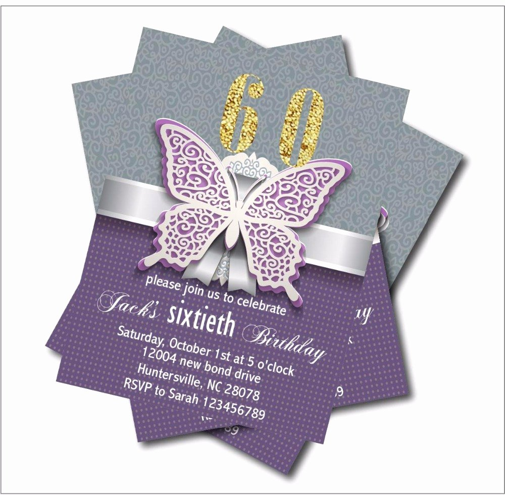 60 Th Birthday Invites Best Of 20 Pcs Lot Personalized Adult 60th Birthday Invitations