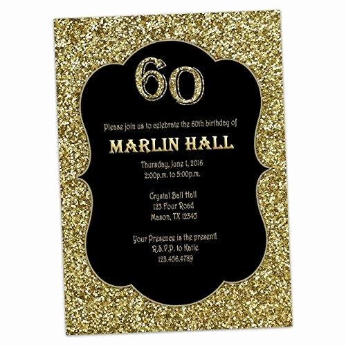 60 Th Birthday Invites Best Of Amazon Milestone Black Gold Glitter Birthday