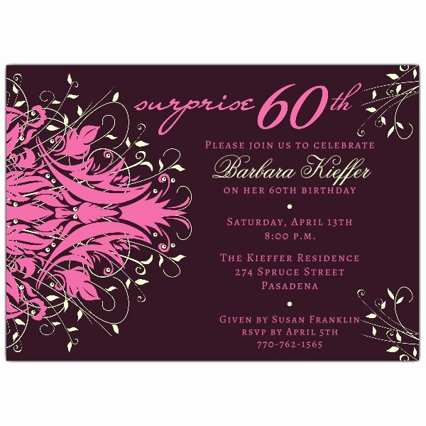 60 Th Birthday Invites Best Of andromeda Pink Surprise 60th Birthday Invitations