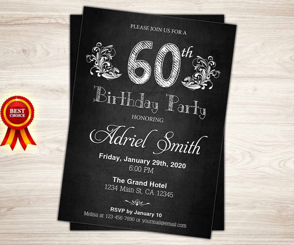 60 Th Birthday Invites Elegant Surprise 60th Birthday Invitation Chalkboard 60th Birthday