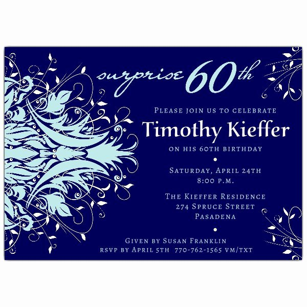 60 Th Birthday Invites Inspirational andromeda Navy Blue Surprise 60th Birthday Invitations