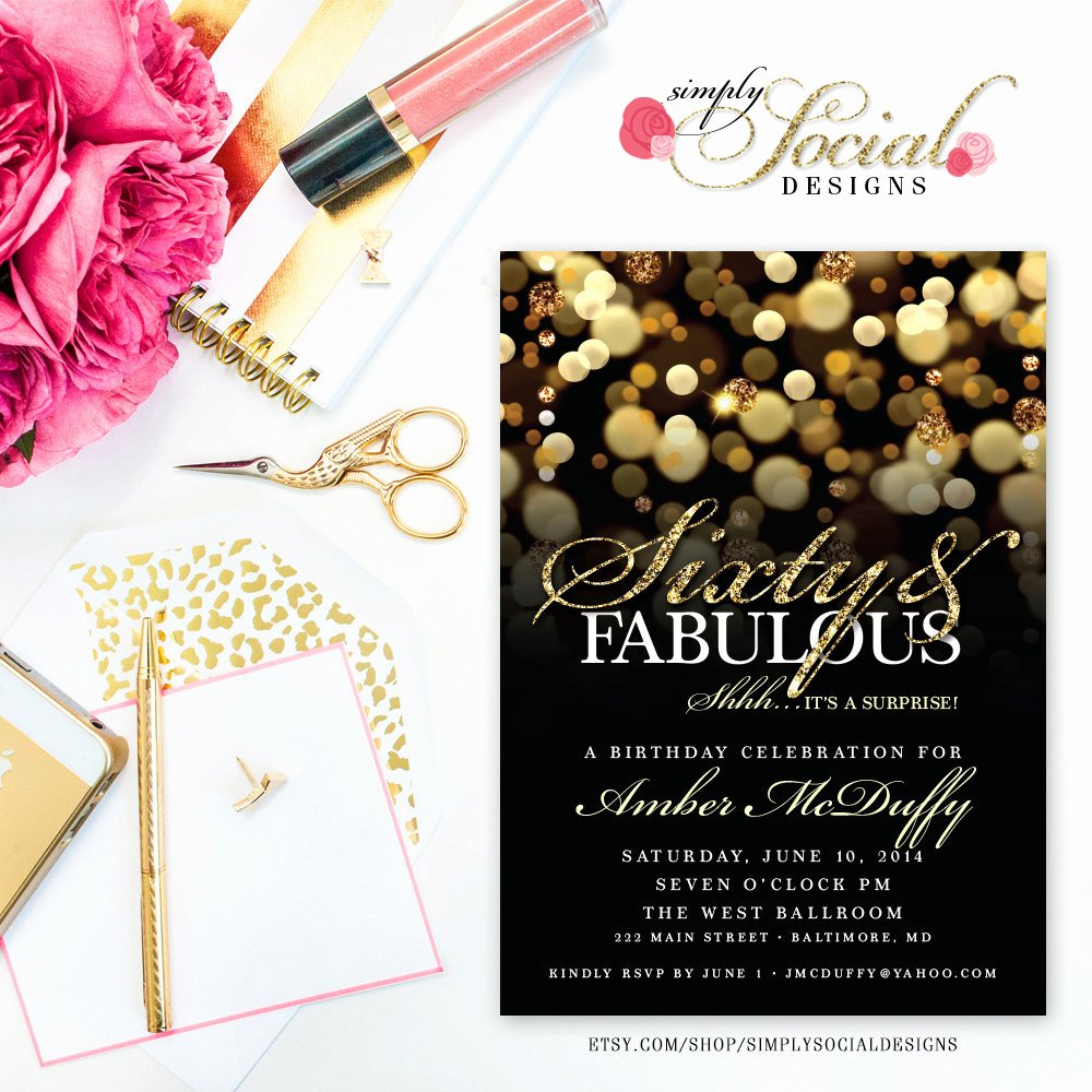 60 Th Birthday Invites Inspirational Surprise 60th Birthday Party Invitation with Gold Glitter