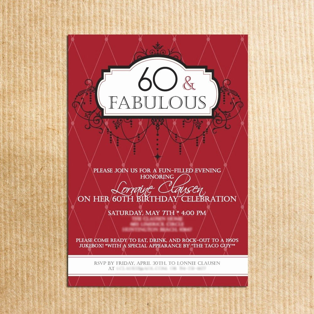 60 Th Birthday Invites Lovely Adult 60th Birthday Party Invitations Stationery by
