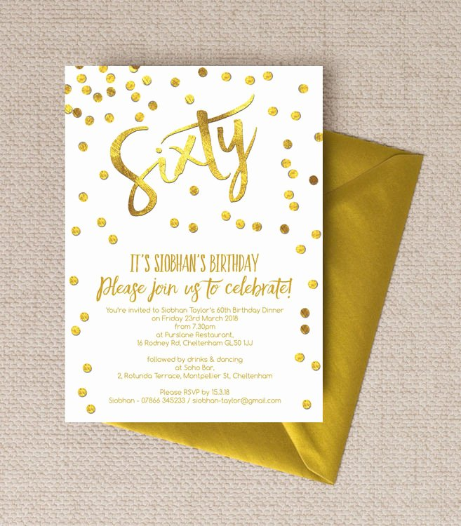 60 Th Birthday Invites Luxury Gold Calligraphy & Confetti 60th Birthday Party Invitation