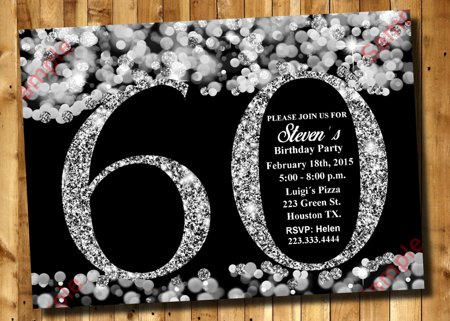 60 Th Birthday Invites New 60th Birthday Invitation Silver Glitter Invitation Adult