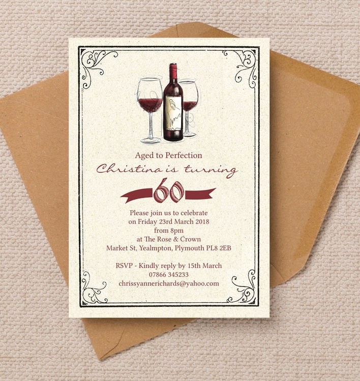 60 Th Birthday Invites New Vintage Red Wine themed 60th Birthday Party Invitation