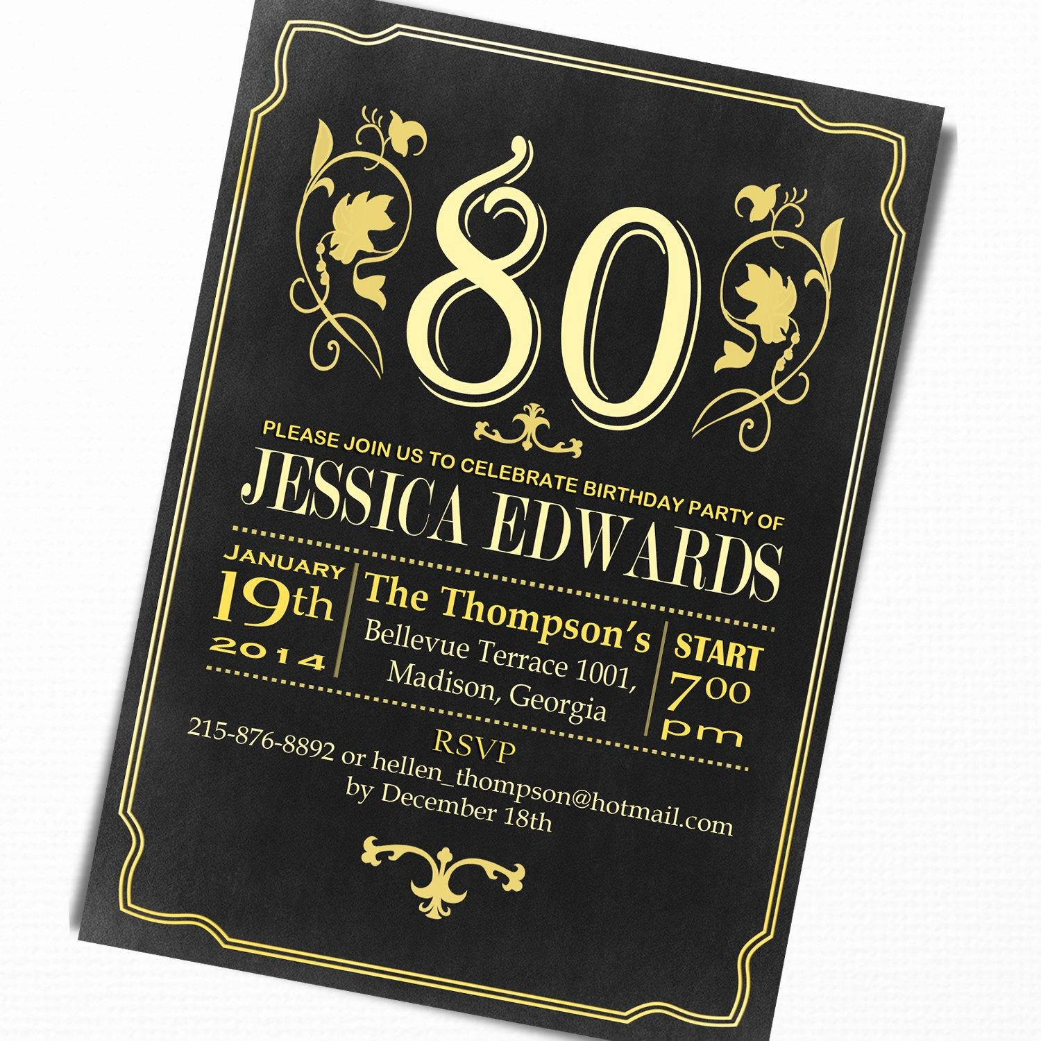 80th Birthday Party Invitations Awesome 15 Sample 80th Birthday Invitations Templates Ideas