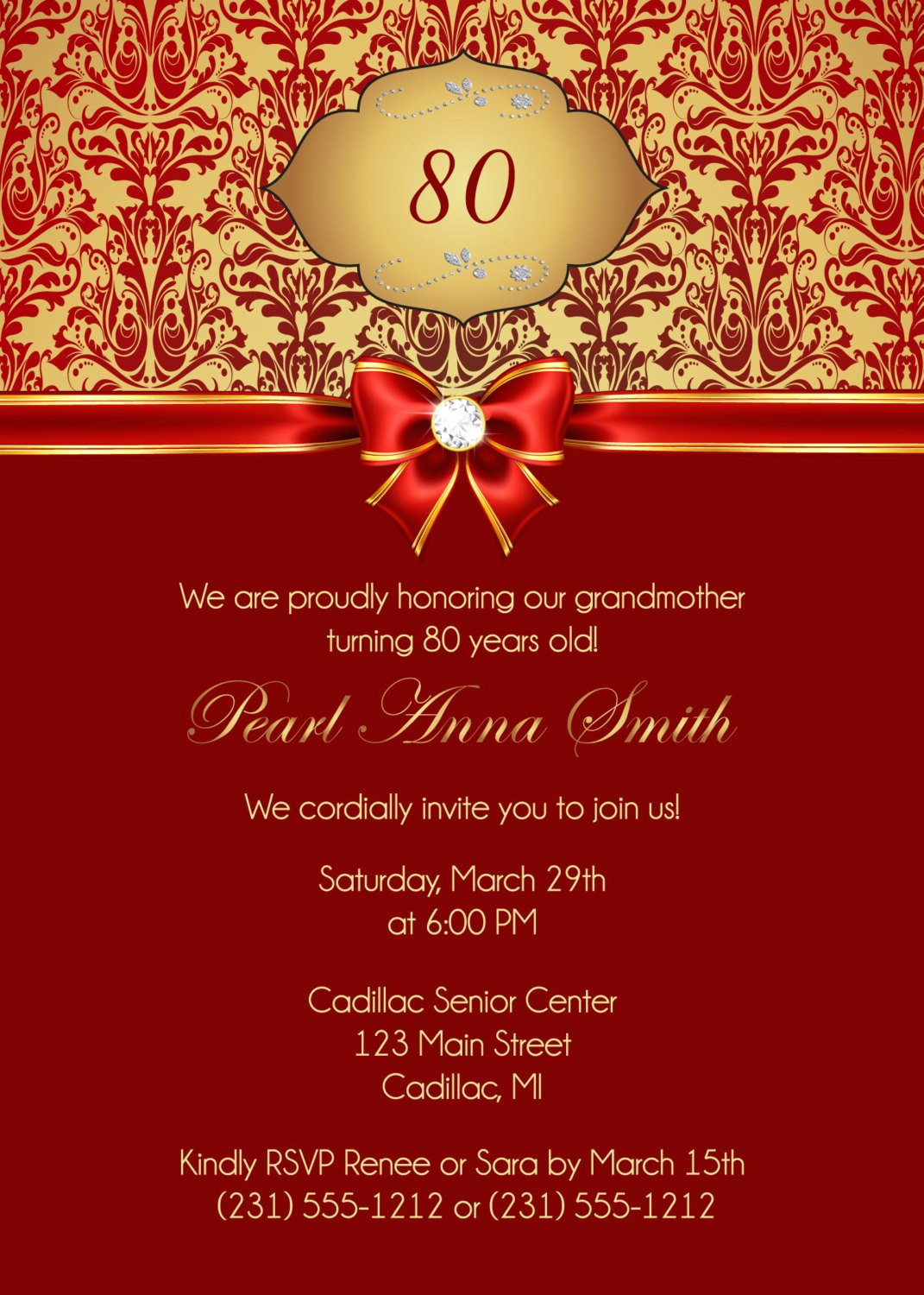 80th Birthday Party Invitations Beautiful 80th Birthday Invitation Adult Black and Gold Damask 80th