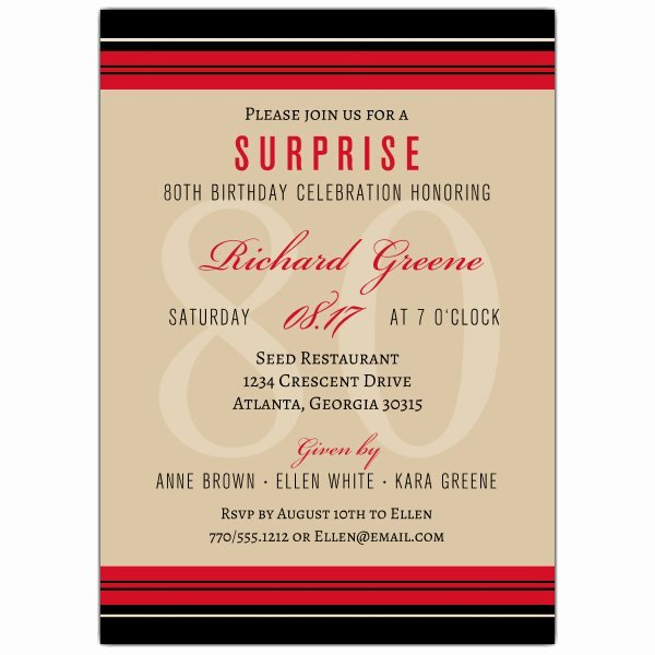 80th Birthday Party Invitations Beautiful Classic Stripe 80th Birthday Invitations