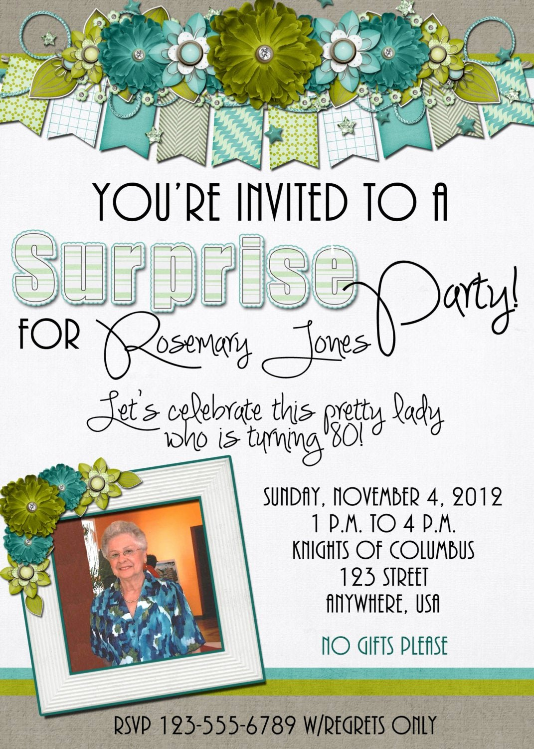 80th Birthday Party Invitations Beautiful Suprise Birthday Party Invitation 80th Birthday Flowers