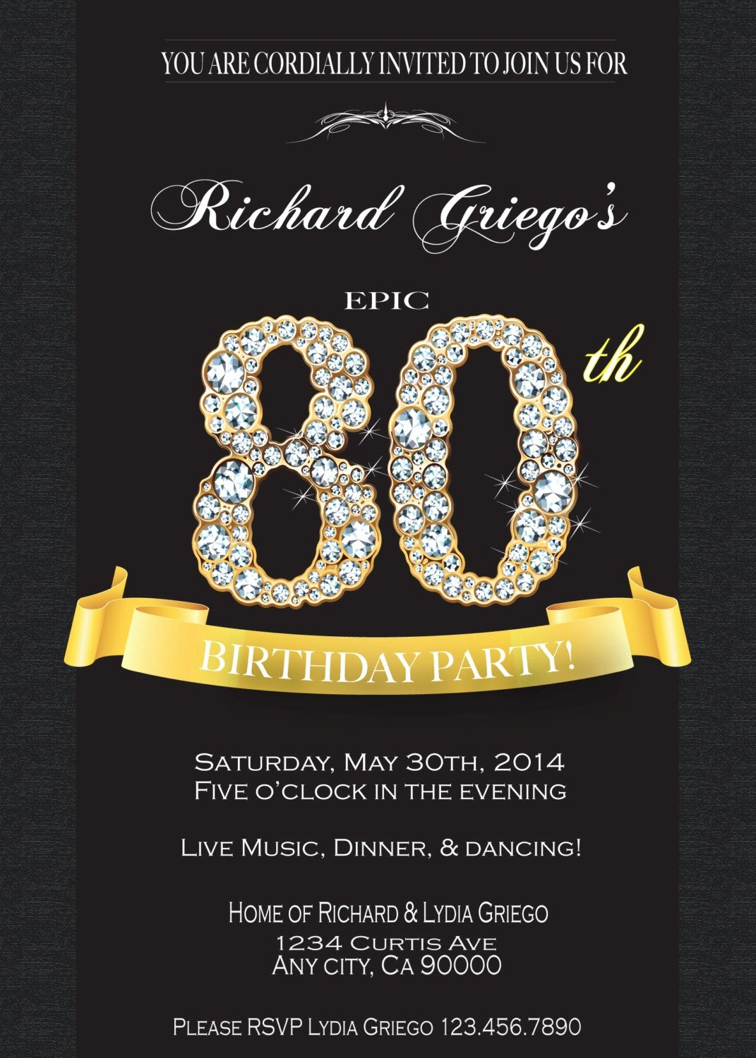80th Birthday Party Invitations Best Of 80th Birthday Invitation