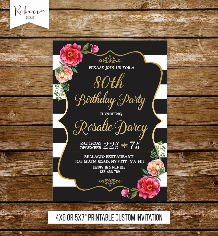 80th Birthday Party Invitations Best Of 80th Birthday Invitation Woman Elegant Birthday Invite 21st