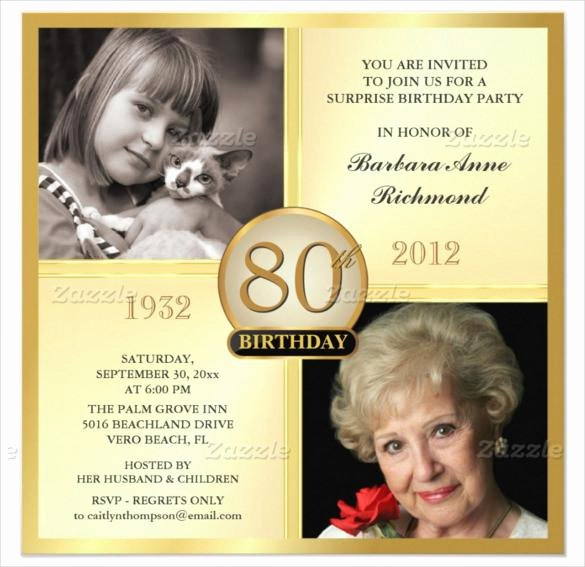 80th Birthday Party Invitations Elegant 15 Sample 80th Birthday Invitations Templates Ideas