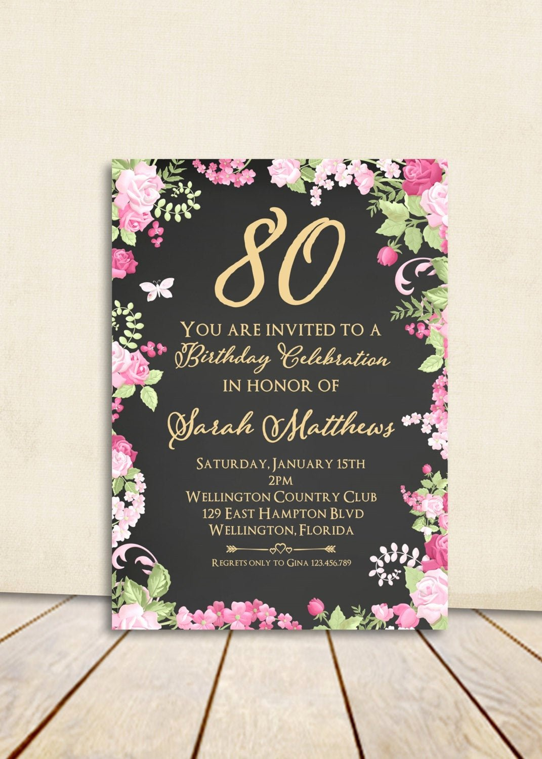 80th Birthday Party Invitations Elegant Cottage Chic Chalkboard 80th Birthday Invitation Any Age Adult