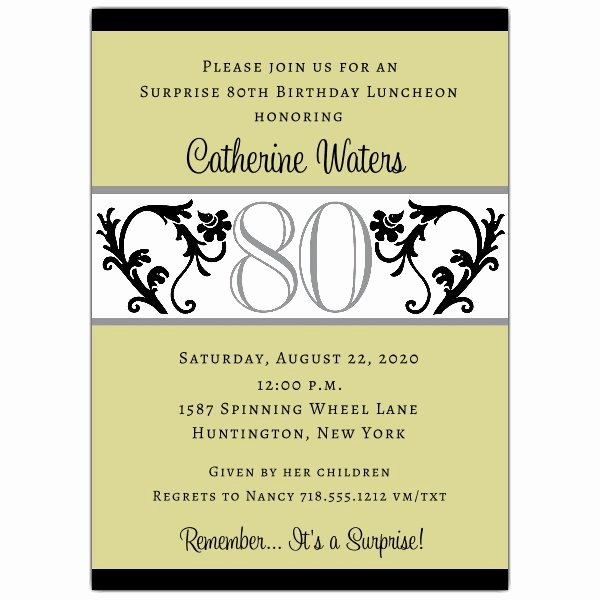 80th Birthday Party Invitations Elegant Elegant Vine Chartreuse 80th Birthday Invitations