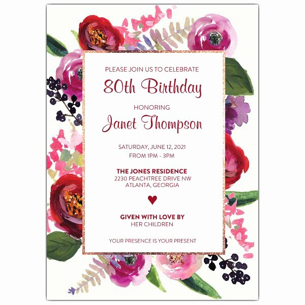 80th Birthday Party Invitations Elegant Floral Garden 80th Birthday Invitations