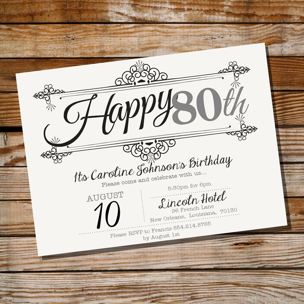 80th Birthday Party Invitations Elegant Vintage Frame Birthday Invitation