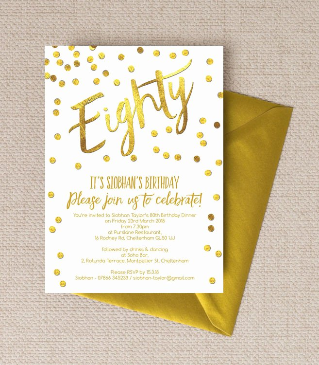 80th Birthday Party Invitations Fresh Gold Calligraphy & Confetti 80th Birthday Party Invitation